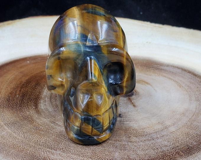 2 Inch Tiger's Eye Skull