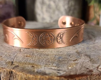 Magnetic Copper Bracelet featuring Triple Moon/Triple Goddess