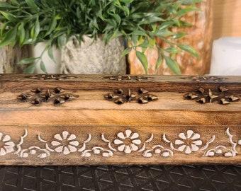 Mango Wood Incense Storage Box/Incense Burner