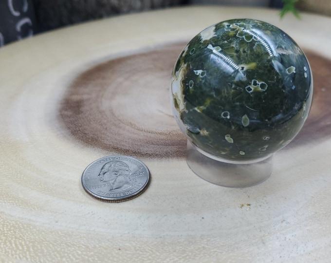Ocean Jasper Sphere, 48 mm in Diameter, Weighs 149 grams
