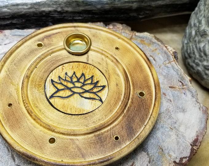Wooden Incense Burner W/engraved Lotus
