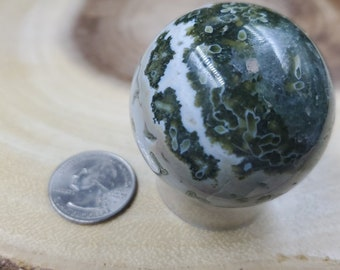 Ocean Jasper Sphere, 46 mm in Diameter, Weighs 138 grams