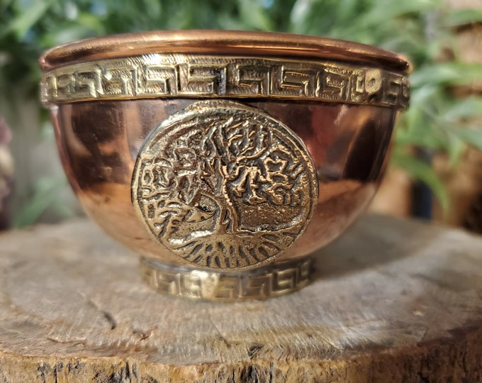 3 Inch Copper Bowl Incense & Charcoal Burner w/Tree of Life Emblem