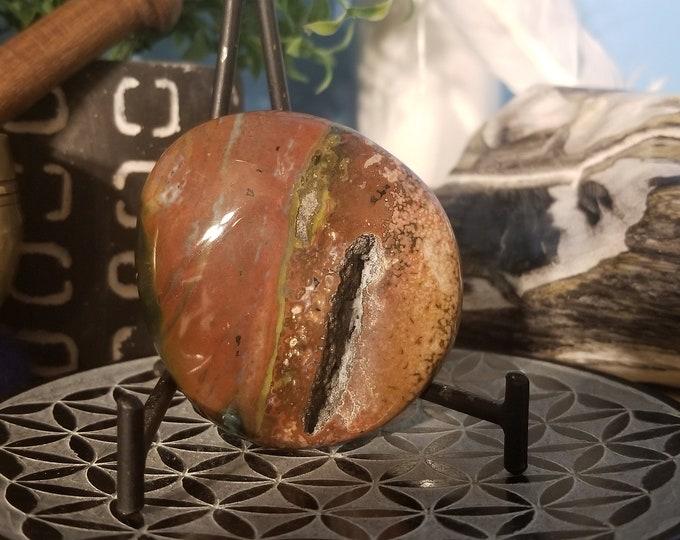 Featured listing image: Ocean Jasper Palm Stone (orbicular Jasper) O28