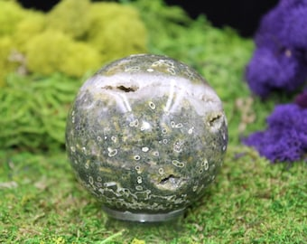 Ocean Jasper Sphere with natural Druzy
