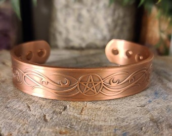 Copper Magnetic Bracelet w/Pentacle