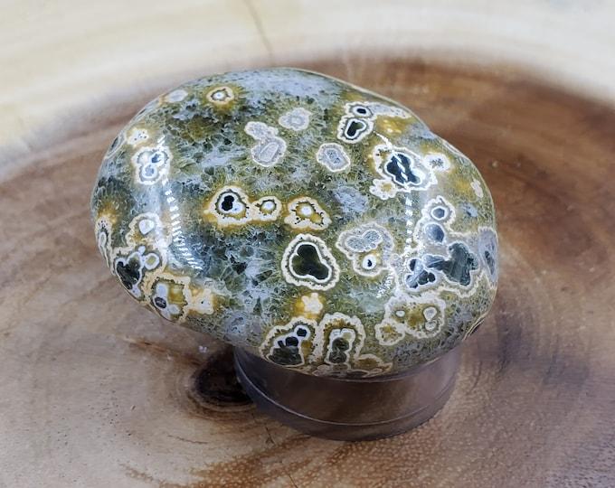 Ocean Jasper Palm Stone, Weight 77 g, Length 5 cm