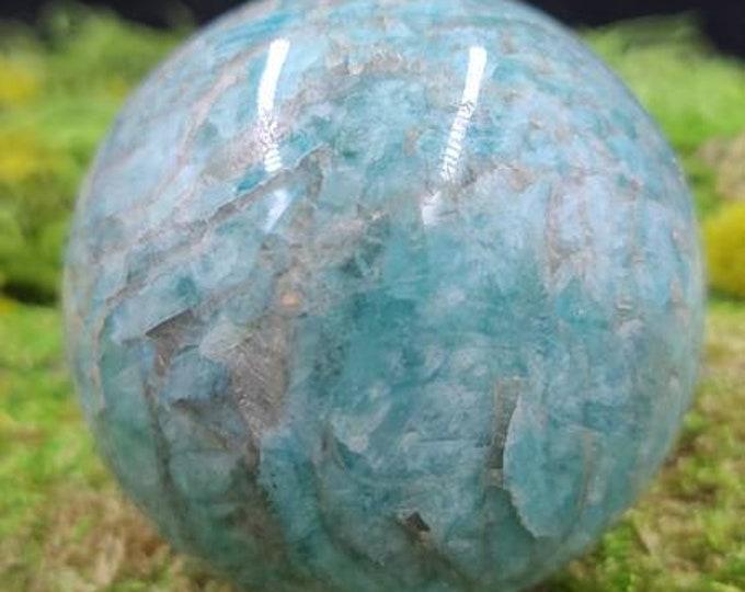 Amazonite with Smoky Quartz Sphere A348