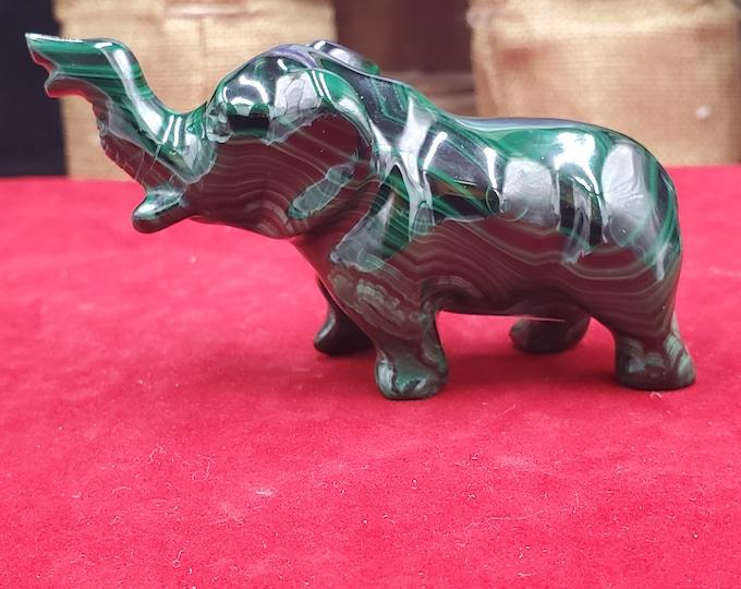 3 Inch Malachite Polished Crystal Carved Elephant M40