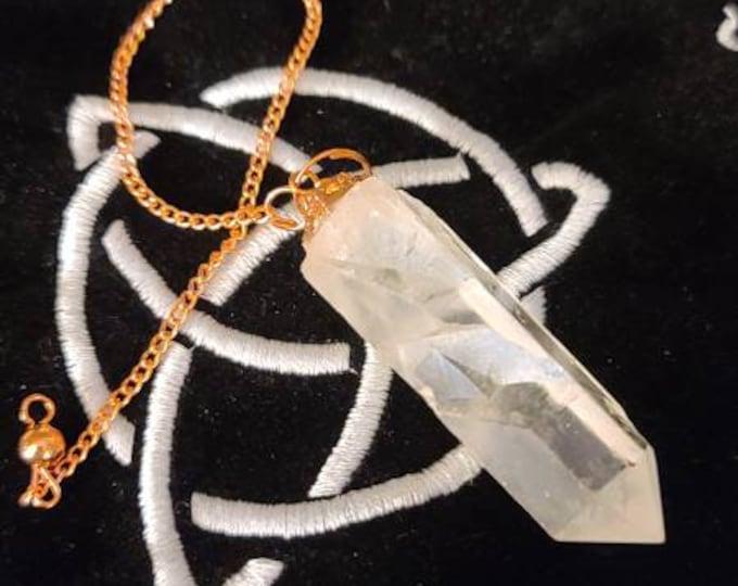 Rough Quartz Pendulum on Copper Chain