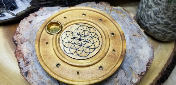 Wooden Incense Burner W/engraved Flower Of Life