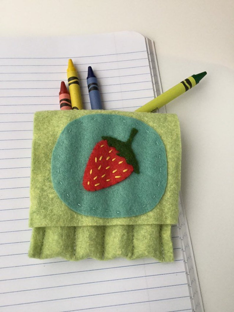 toddler gift stocking stuffer diaper bag accessory Strawberry crayon pouch crayon holder child gift