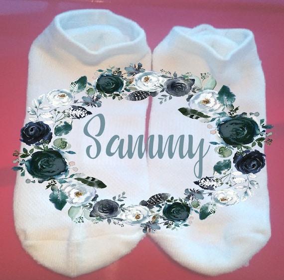 Sublimated Socks ** NOT VINYL ** Name Wreath Socks Personalized Socks Custom Socks Floral Wreath Socks Gift Socks