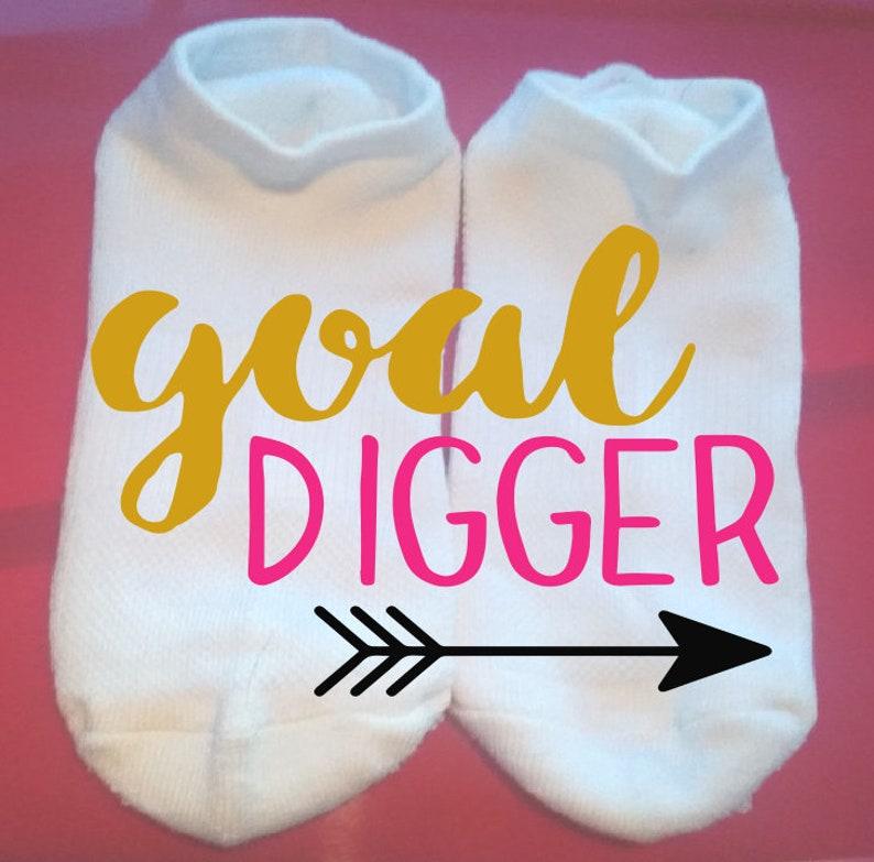 Goal Digger Lucky Socks Motivational Socks Gift Socks  ** NOT VINYL ** Custom Socks