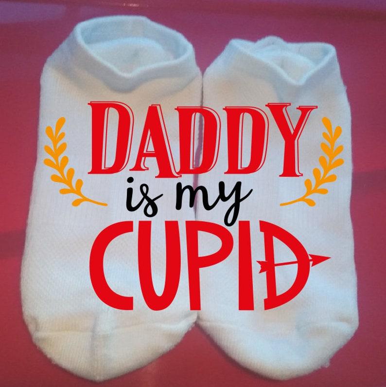 Valentine Socks Custom Socks Holiday Socks Daddy is my Cupid Lucky Socks Gift Socks  ** NOT VINYL **