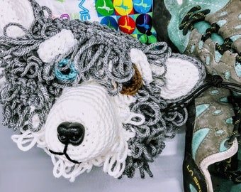 Happy Husky Crocheted Crag Dog Chalk Bag Storage Basket Pattern