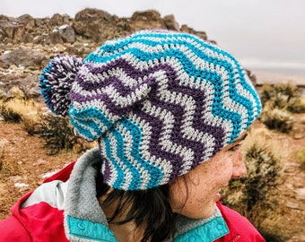 Simple and Chic Double Brimmed Chevron Winter Beanie Crochet Pattern