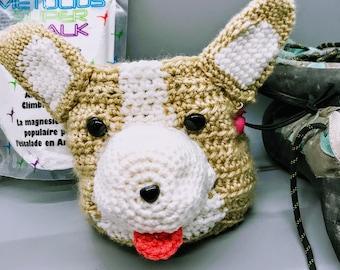 Cute Corgi Crag Dog Chalk Bag Storage Basket Crochet Pattern
