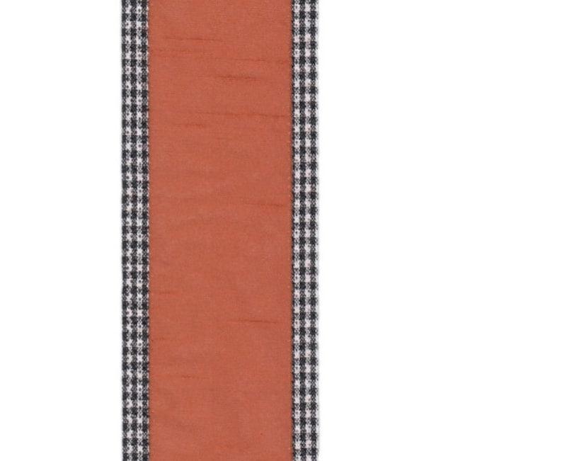 Stevens 2.5\u201d x 10 yard wired orange with herringbone trim ribbon roll d