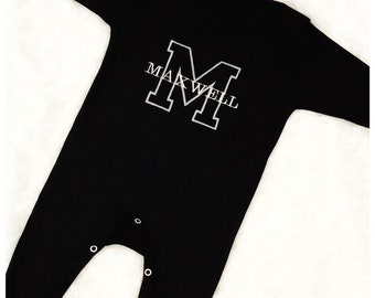 a8b58cdb62714 Personalised Large Initial Name Babygrow - Babygrow Colours To Choose From  - Personalised Baby Sleepsuit - Embroidered Baby Name Romper
