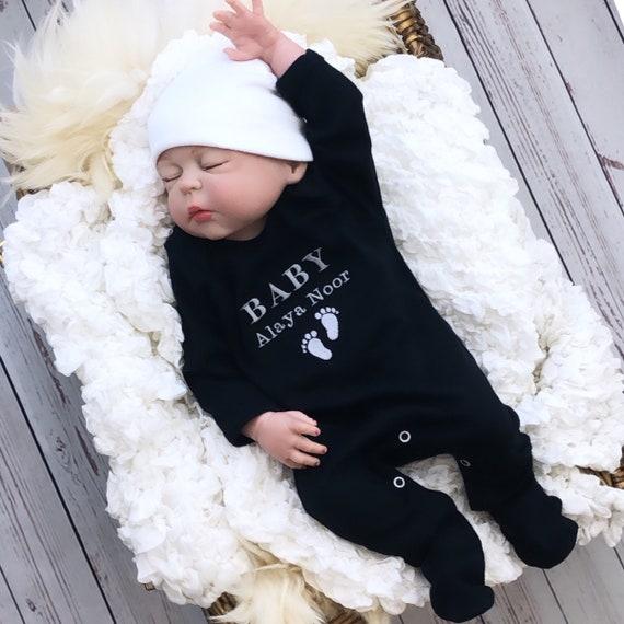Babygrow Bib Embroidered Personalised Sleepsuit Footprint