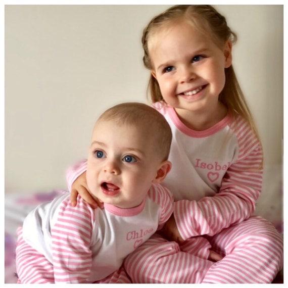 d16e7ae0f0 Girl s Personalised Name Pink   White Striped Pyjama Set