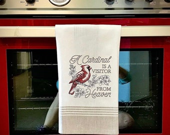 Embroidered Kitchen Towel- Cardinal