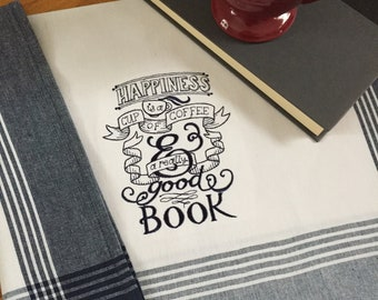 Embroidered Kitchen Towel-Book & Coffee Lover