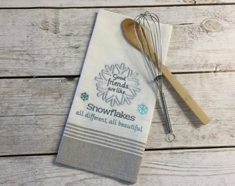 Embroidered Kitchen Towel-Snowflake