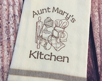 Embroidered Kitchen Towel-Baking