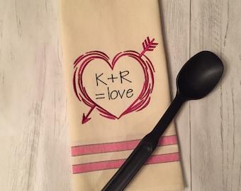 Personalized Kitchen Towel-Heart with Initials