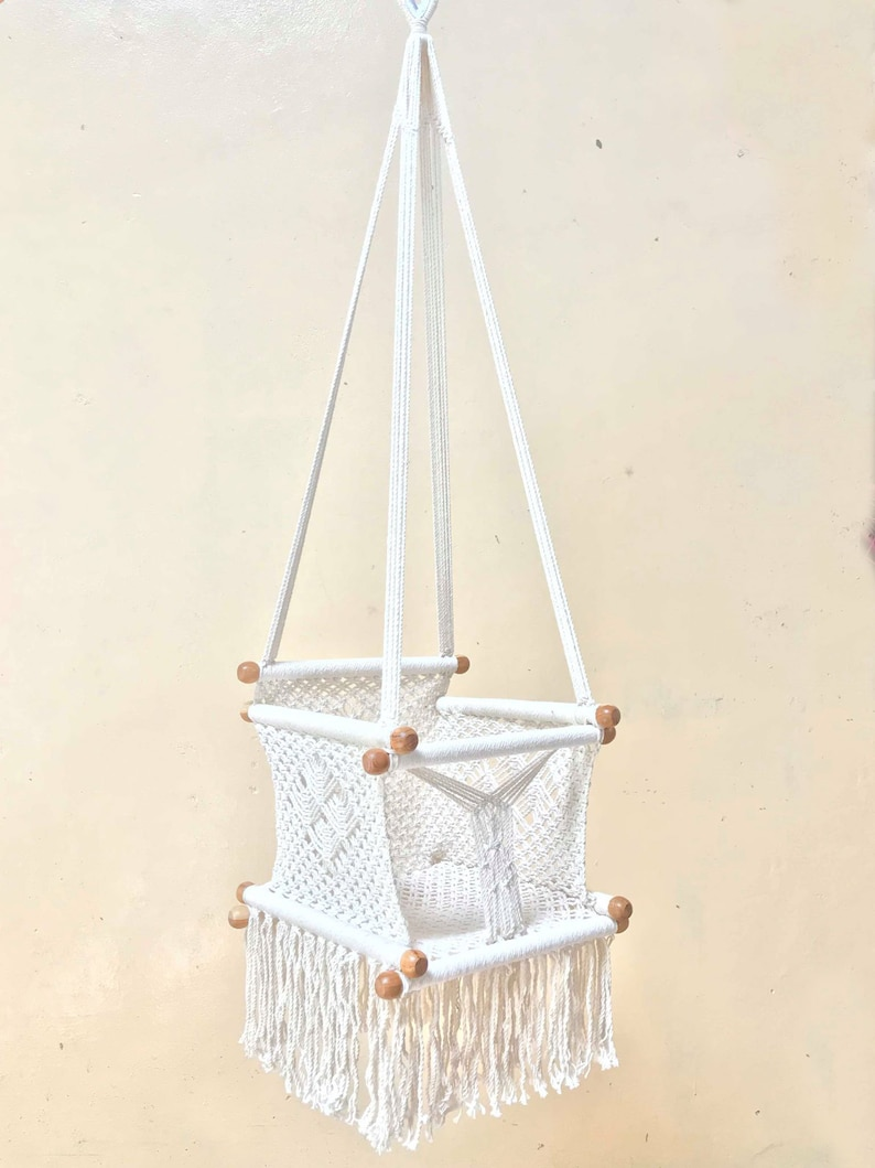 Handmade Natural White Crochet Hammock Baby Swing Chair, Shipping to your  home by DHL Express 2 to 3 days
