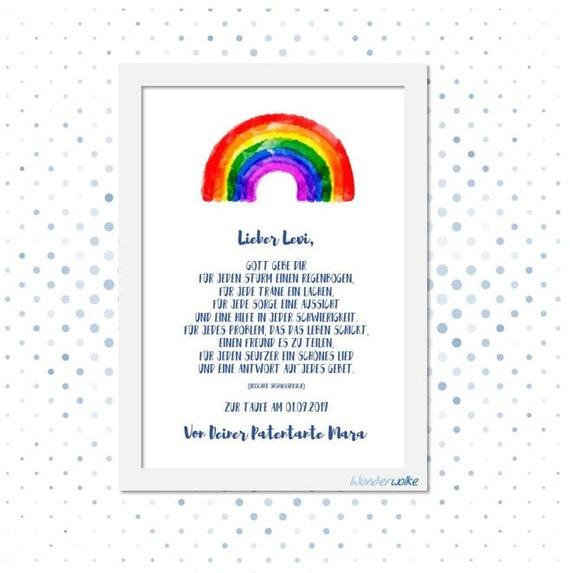 Geschenk Mit Spruch Zur Taufe Bild Personalisiert Baby Kunstdruck Mit Namen Regenbogen