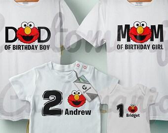 Elmo Family Custom Birthday Party T Shirts