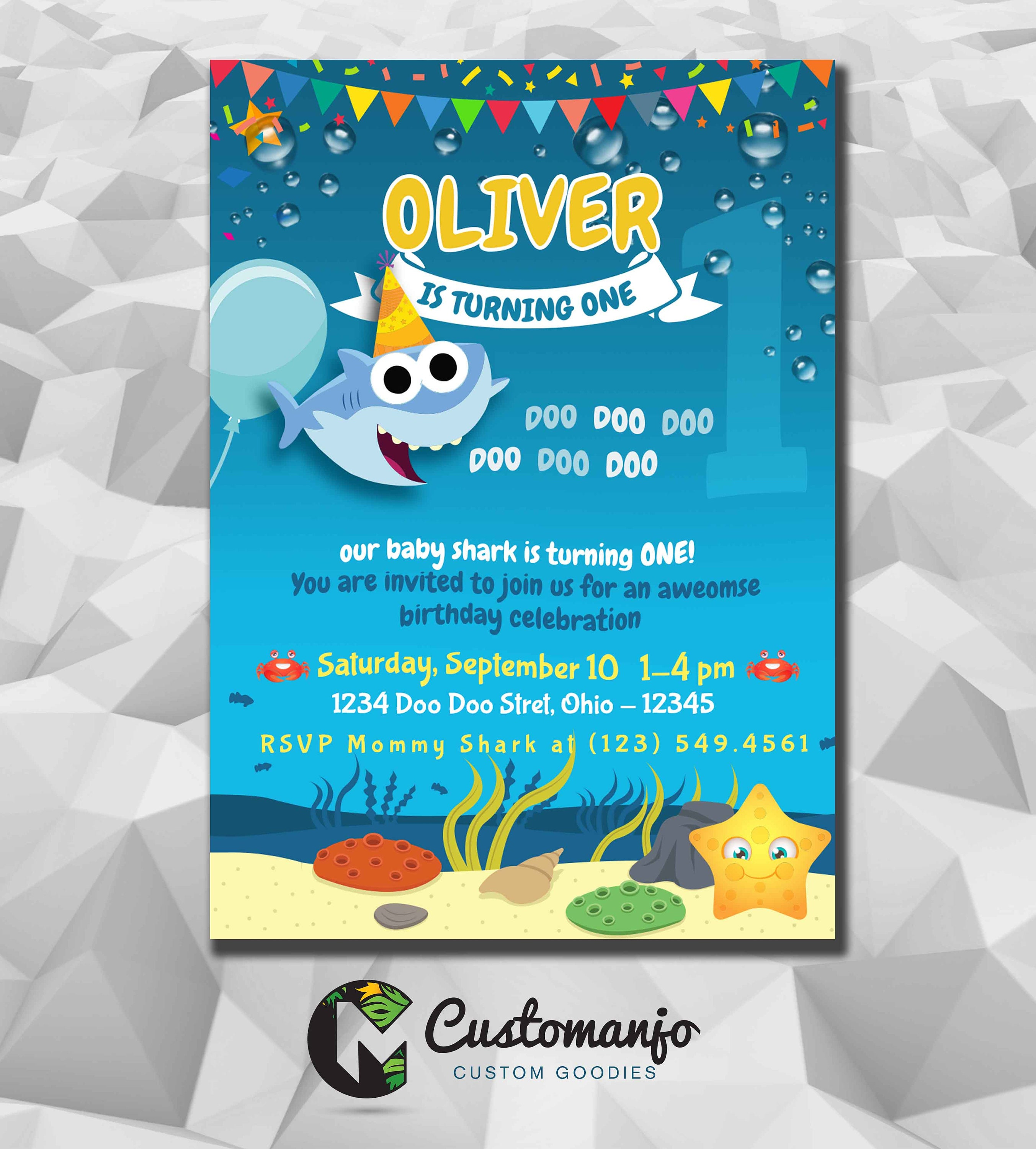 Baby Shark Birthday Invite Family Shark Birthday Printable