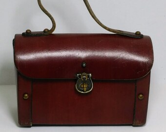 6ca15dcff1d9 Etienne Aigner Vintage 60s Iconic Oxblood Red Leather Handbag Logo Rare  Handmade