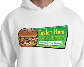Taylor Ham Hooded Sweatshirt - Taylor Ham Hoodie - Taylor Ham Egg & Cheese - Taylor Ham NJ - New Jersey Hoodie - NJ Hoodie