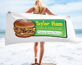 Jersey Shore Beach Towel - Taylor Ham Egg & Cheese - Taylor Ham Jersey Shore Beach Towel - Jersey Shore Gift