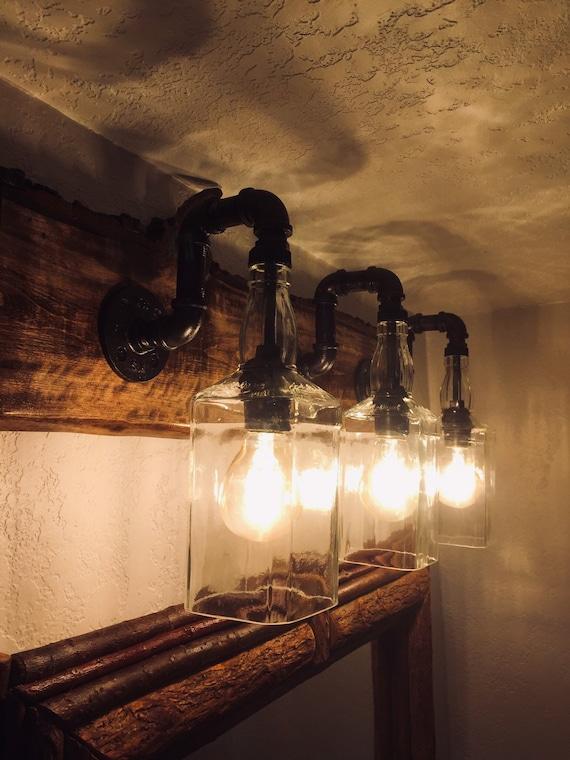 Jack Daniels Bathroom Vanity Lighting With Live Organic Rustic Etsy