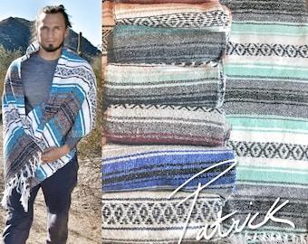 Handmade Mexican Blanket | Serape | Mexican Blanket 100% handmade  | Vintage Mexico Blanket  | Mexican Blanket Saltillo Falsa