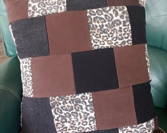 """Black, Brown, Animal Print Denim Accent Pillow Cover, Upcycled, 20"""" square"""