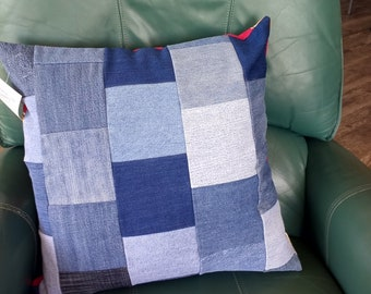 """Denim Patchwork Accent Pillow Cover, Upcycled, 20"""" square"""