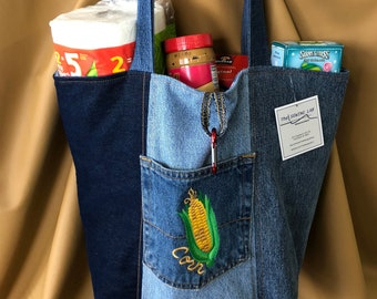 """Market Bag - Denim Tote - Corn Embroidery 15""""X11""""X6"""" - Sew Loved - Unlined"""