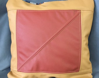 Up-Cycled Tan and Red Leather and Fabric Zippered Pillow Cover