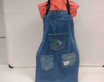 UpCycled Denim Gardening Apron with Machine Embroidered Pocket