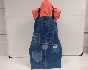 UpCycled Denim Apron for Grilling with Machined Embroidered Pocket