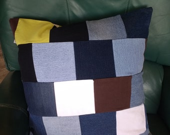 """Contemporary Denim Patchwork Accent Pillow Cover, Upcycled, 20"""" square"""