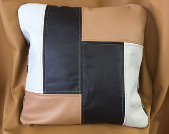 Up-Cycled Brown Tan and White Leather and Fabric Zippered Pillow Cover