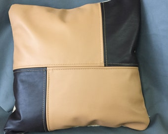 Up-Cycled Brown and Tan Leather and Fabric Zippered Pillow Cover
