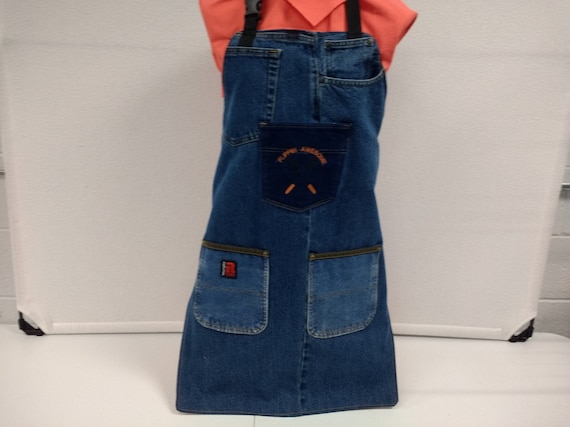 Upcycled Denim Apron For Grilling Or Cooking With Machined Etsy